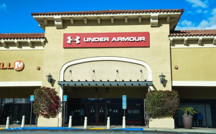 Closed Under Armour retail stores at the outdoor mall Cabazon Outlets are open but largely empty due to Covid-19 Corona virus in Cabazon, California John Green/CSMShopping: Cabazon Outlets Empty, Cabazon, USA - 17 Mar 2020