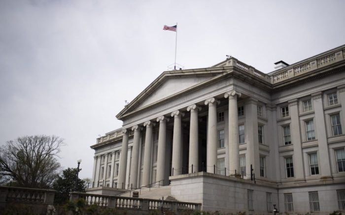 Photo taken on March 27, 2020 shows the U.S. Treasury Department in Washington D.C., the United States. U.S. economic activity in the first quarter contracted at an annual rate of 4.8 percent amid the COVID-19 impact, the biggest decline since the Great Recession, the U.S. Commerce Department reported Wednesday.u.s. Washington d.c. Covid 19 Economy - 27 Mar 2020