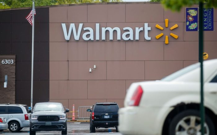 An exterior view of a Walmart in Alexandria, Virginia, USA, 01 May 2020. Workers from corporations, including employees from Amazon, Walmart and FedEx, are planning a walkout asking for better health and safety standards as well as hazard pay while working during the coronavirus pandemic.Workers from corporations, including employees from Amazon, Walmart and FedEx, are planning a walkout asking for better health and safety standards as well as hazard pay while working during the coronavirus pandemic, Alexandria, USA - 01 May 2020