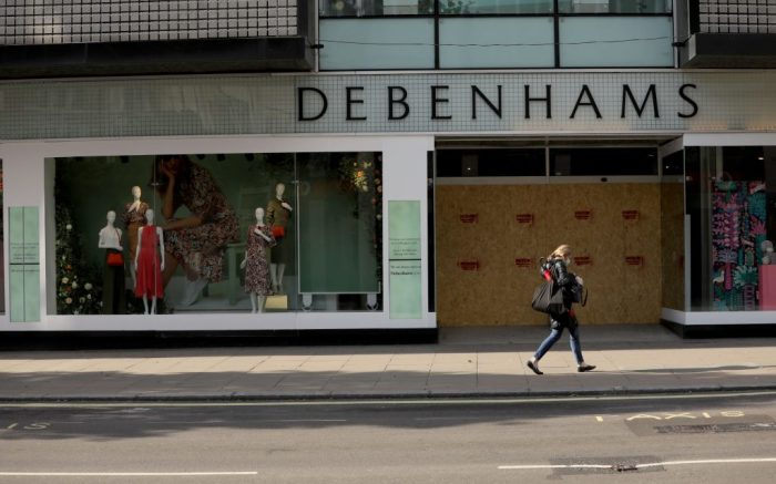 Photo taken on May 1, 2020 shows the closed Debenhams store on Oxford Street, in London, Britain.Britain Covid 19 Economy - 01 May 2020