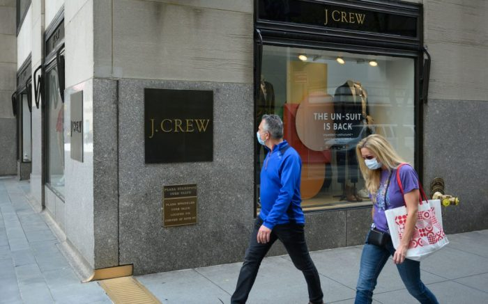 A view of a J. Crew store on Fifth Avenue in New York. The owner of J.Crew is filing for bankruptcy protection, the first major retailer to do so since the pandemic forced most stores in the United States to close.Coronavirus outbreak, New York, USA - 04 May 2020