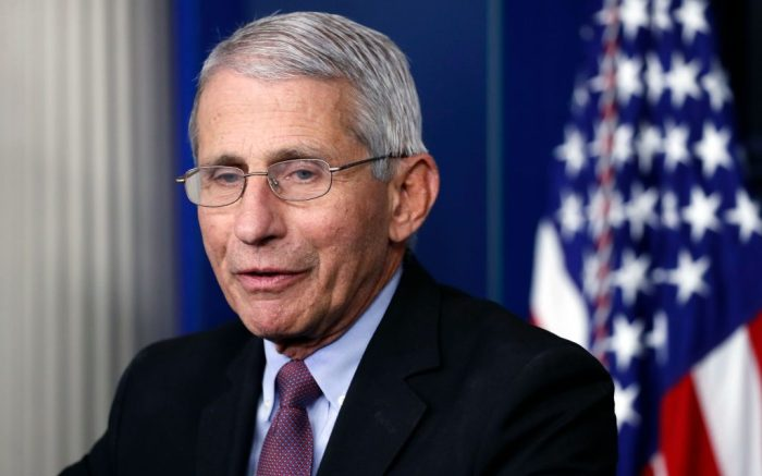 Dr. Anthony Fauci, director of the National Institute of Allergy and Infectious Diseases, speaks about the new coronavirus in the James Brady Press Briefing Room of the White House, in Washington. Three members of the White House coronavirus task force, including Fauci, have placed themselves in quarantine after contact with someone who tested positive for COVID-19, another stark reminder that not even one of the nation's most secure buildings is immune from the virusVirus Outbreak Trump, Washington, United States - 22 Apr 2020