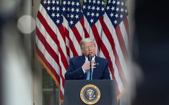 US President Donald J. Trump delivers remarks during a Presidential Recognition Ceremony on Hard Work, Heroism, and Hope in the Rose Garden of the White House in Washington DC, USA on 15 May 2020.Presidential Recognition Ceremony on Hard Work, Heroism, and Hope, Washington, USA - 15 May 2020