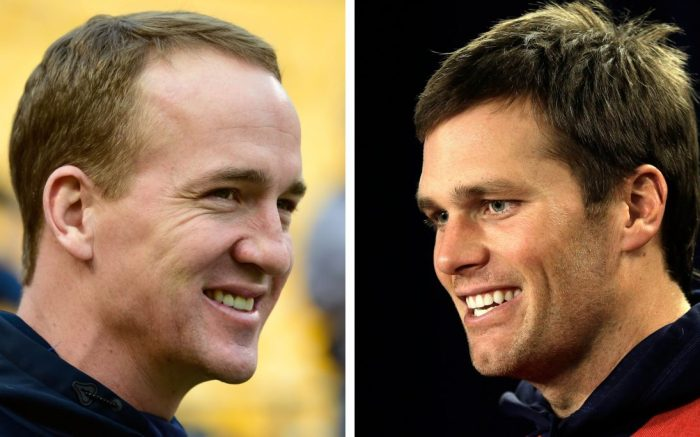 Denver Broncos quarterback Peyton Manning smiles before an NFL football game against the Pittsburgh Steelers, in Pittsburgh. At right, in a Dec. 9, 2015, file photo, New England Patriots quarterback Tom Brady faces reporters before a scheduled NFL football practice, in Foxborough, Mass. Denver and New England play in the AFC Championship game, in DenverAFC Championship Football