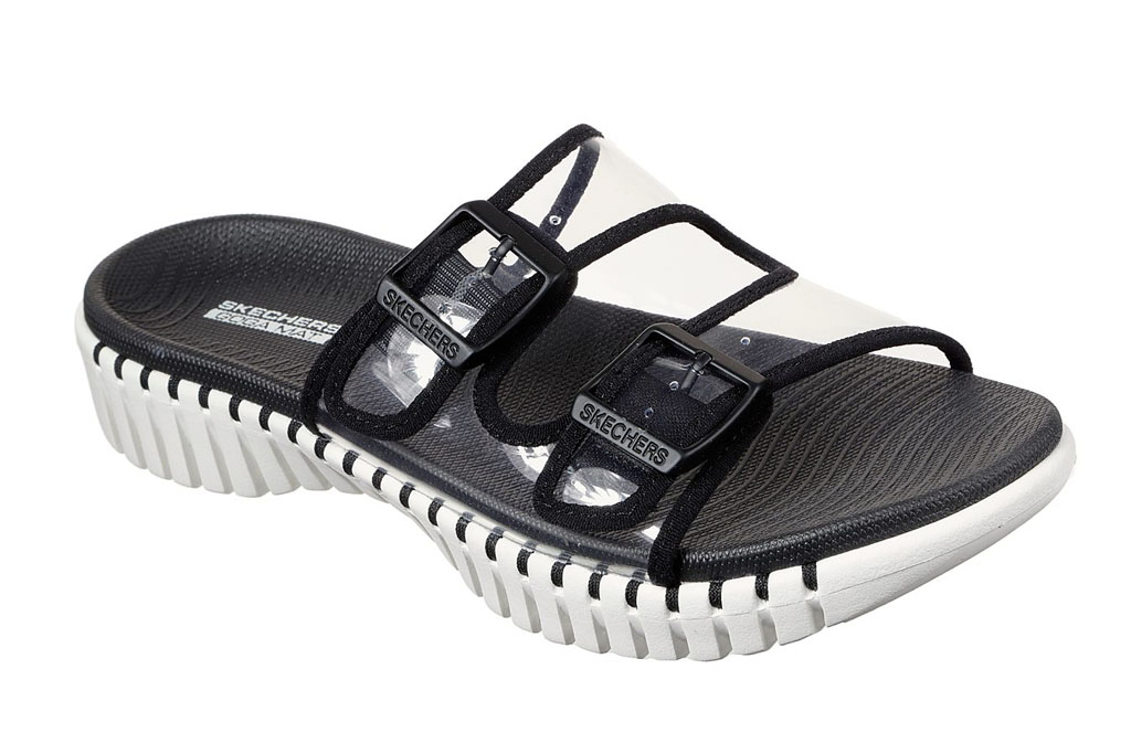 skechers, clear slides