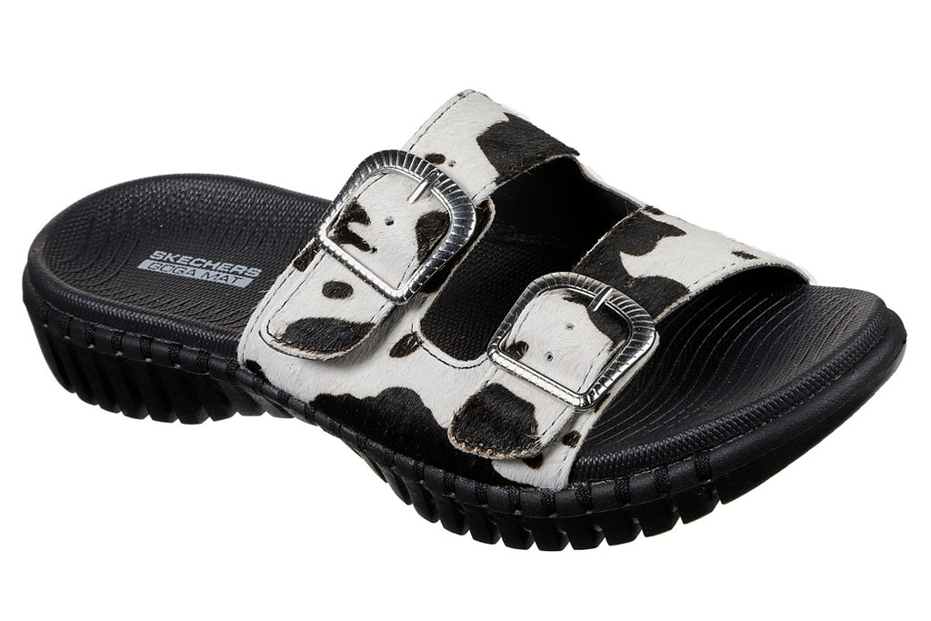 skechers, cow slides