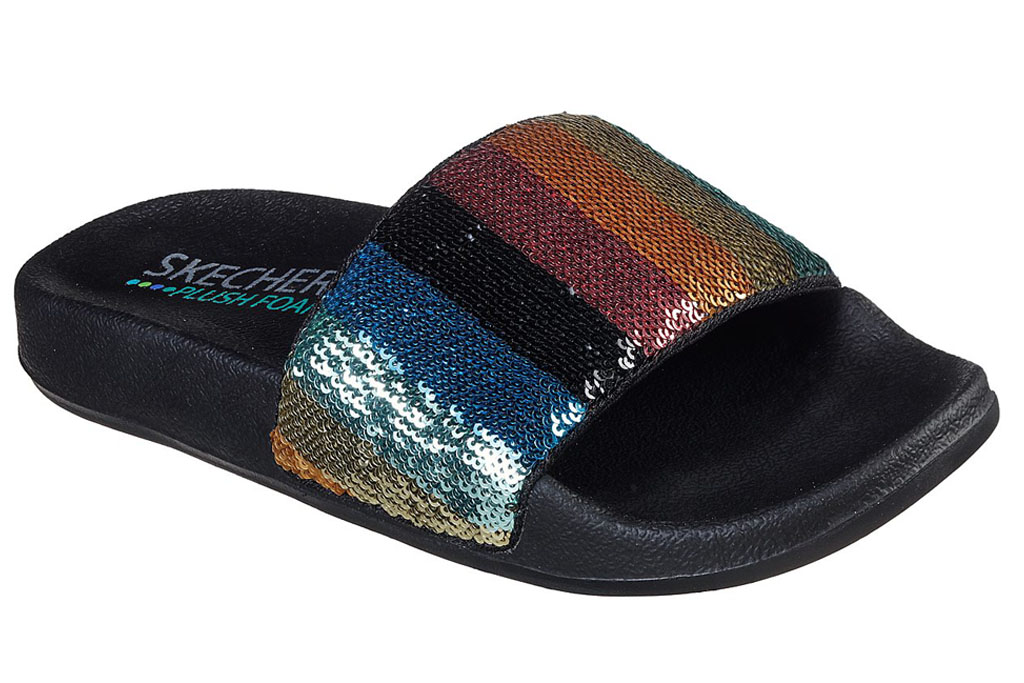 skechers, rainbow slides