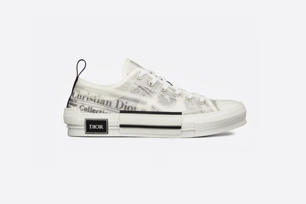 best dior sneakers, newspaper print, Dior B23 Low-Top Sneaker in White Canvas with Dior and Daniel Arsham Motif, dior sneakers, designer sneakers