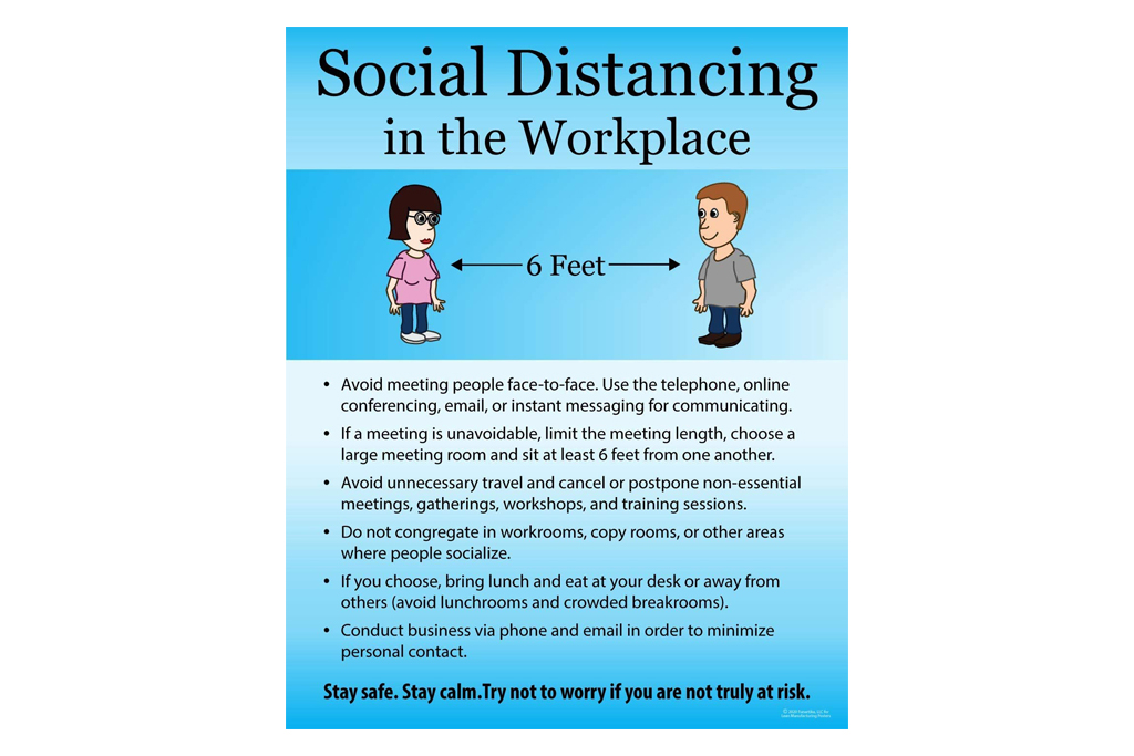 workplace, social distance, sign