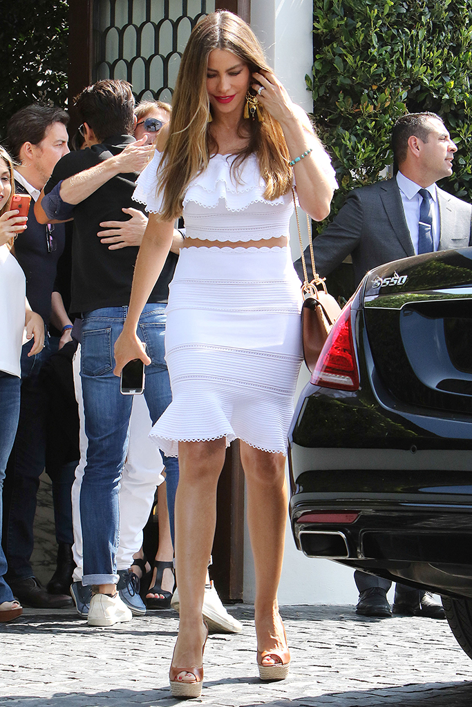 Sofia Vergara, casadei sandals, white minidress, legs, celebrity style, Sofia Vergara out and about, Los Angeles, America - 08 Jun 2016Sofia Vergara had lunch with her family at Cecconi's Restaurant in West Hollywood