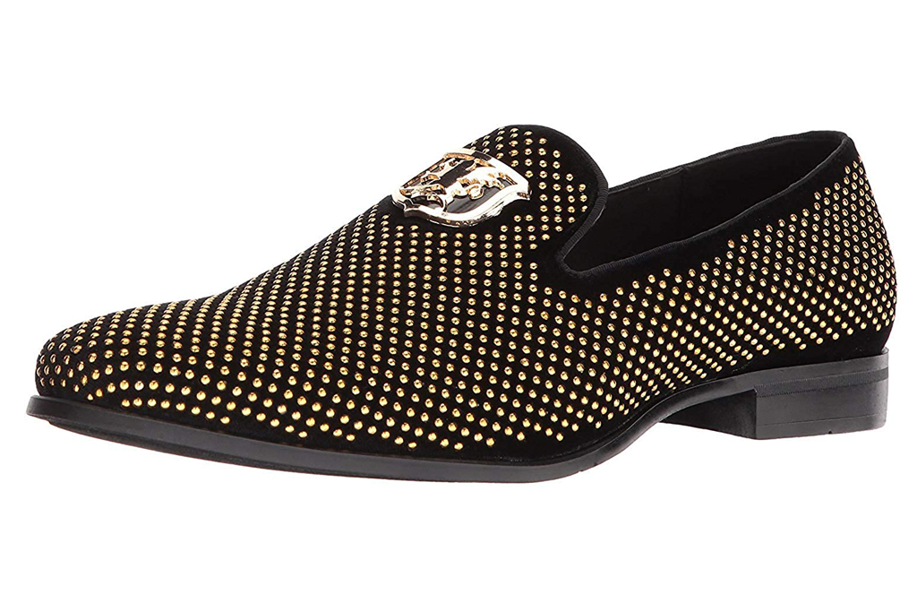 stacy adams, gold loafers
