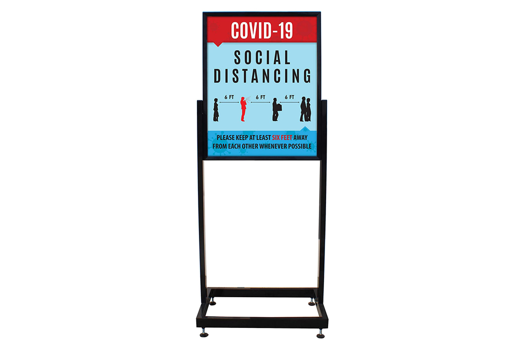 standing sign, social distance