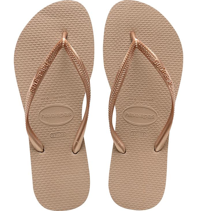 Havaianas Slim Flip Flop, gold flip flops, metallic flip flops.