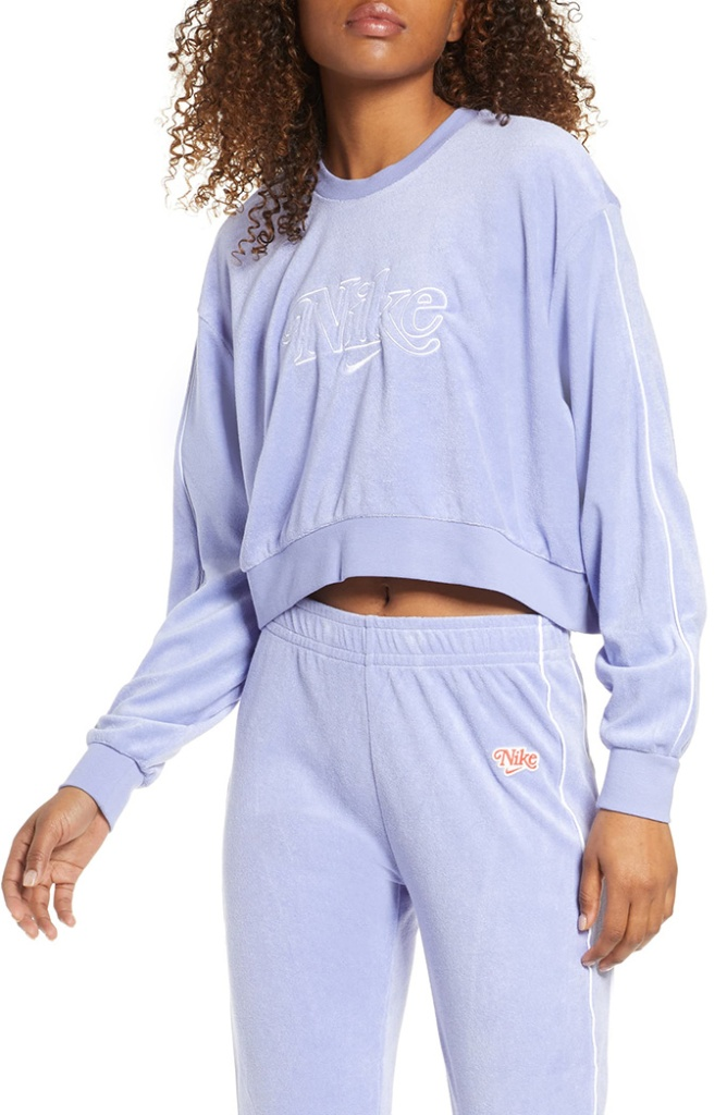 Sportswear Retro Femme Terry Crewneck Crop Sweatshirt, lilac, nike