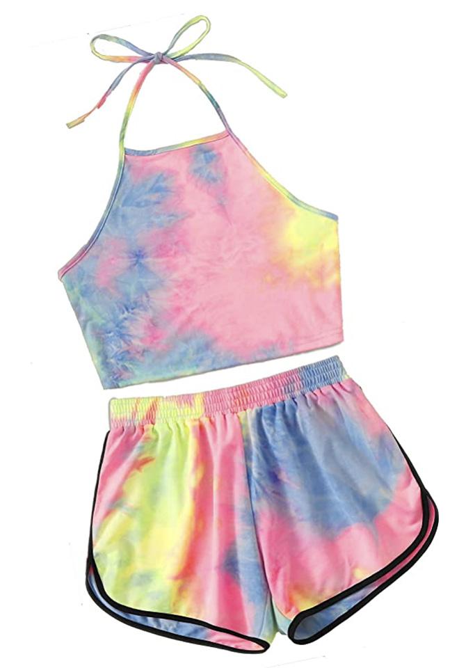 amazon, SweatyRocks Women's 2 Piece Set Halter Crop Top and Shorts Set, tie dye