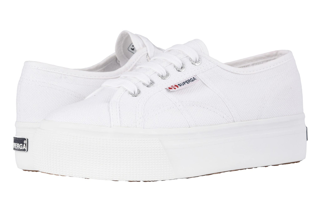 superga, white, platform sneakers