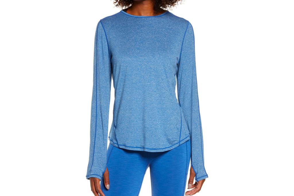 sweat betty, shirt, blue, long sleeve
