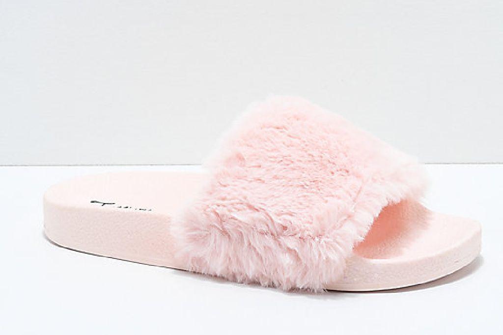 trillium pink fur slide sandals, fuzzy sandals, fuzzy