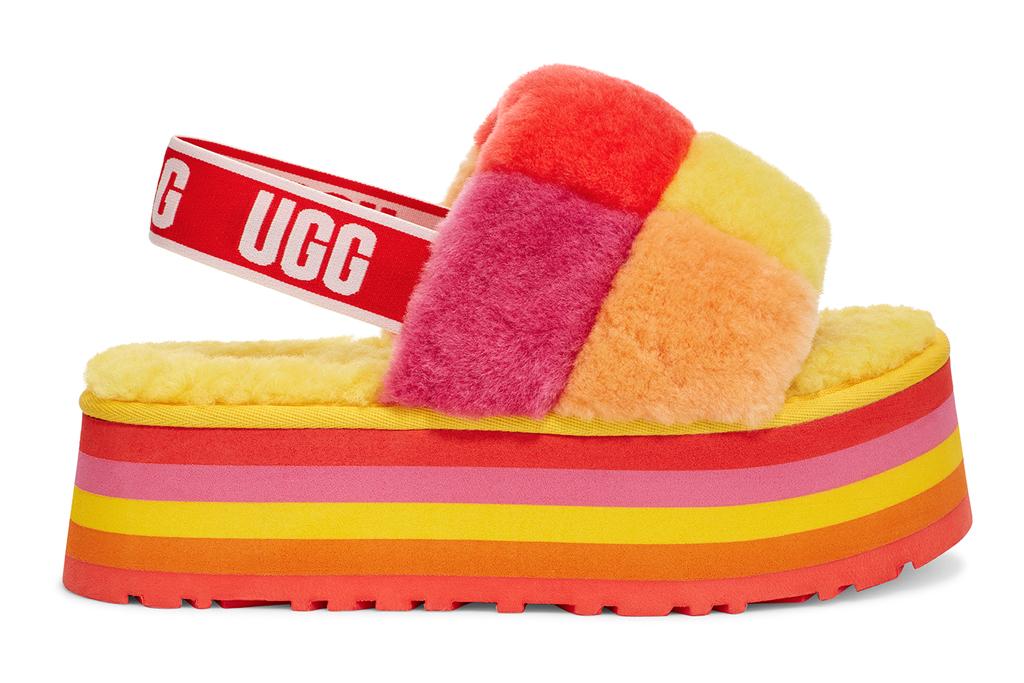 ugg, pride, disco slides, checkered, rainbow