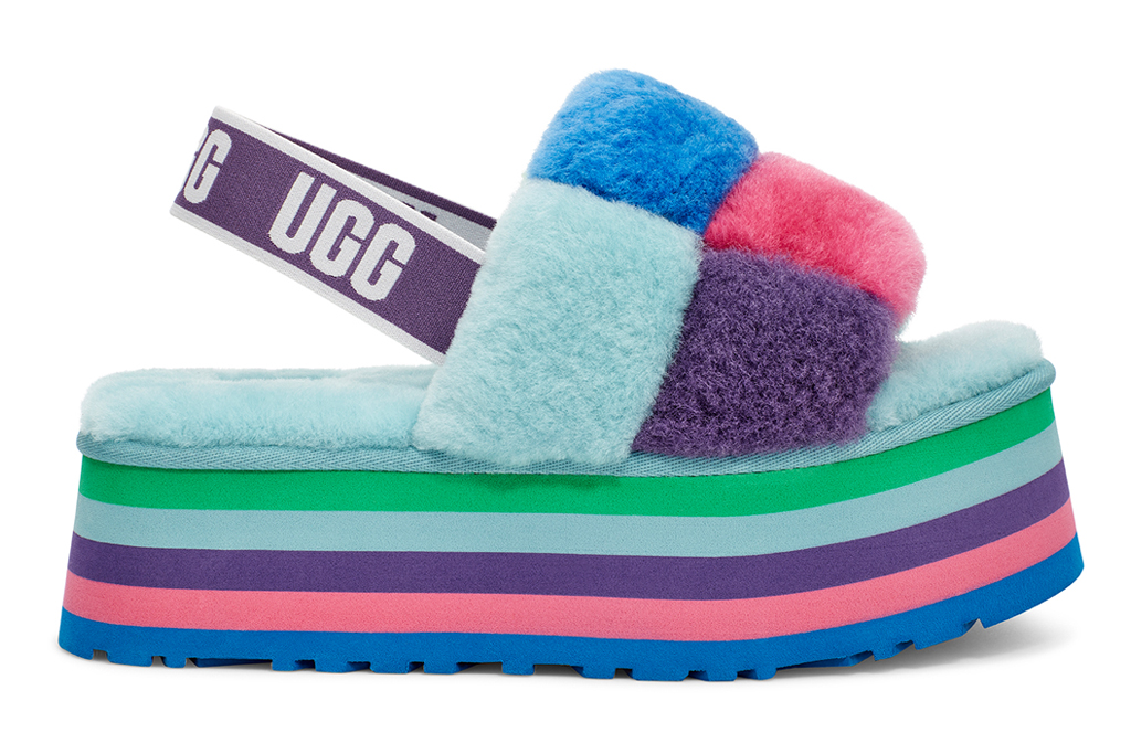 ugg, pride, disco slides, checkered, rainbow