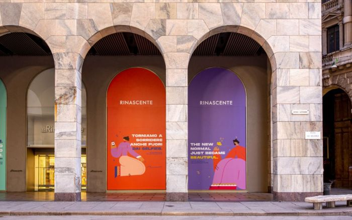 A brightly colored slogan at Rinascente in Milan.