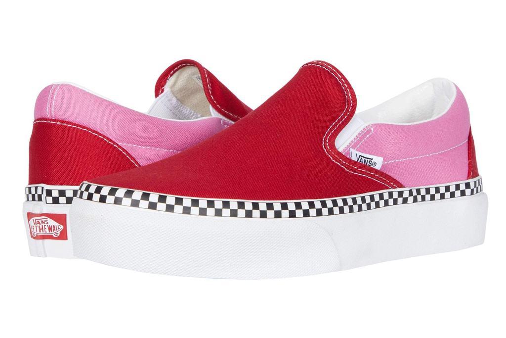 vans, slip, on, platform, red sneakers