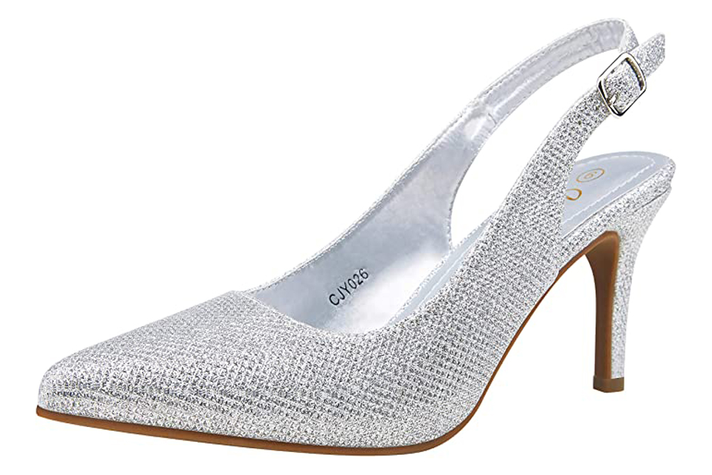Vepose, silver slingback pumps