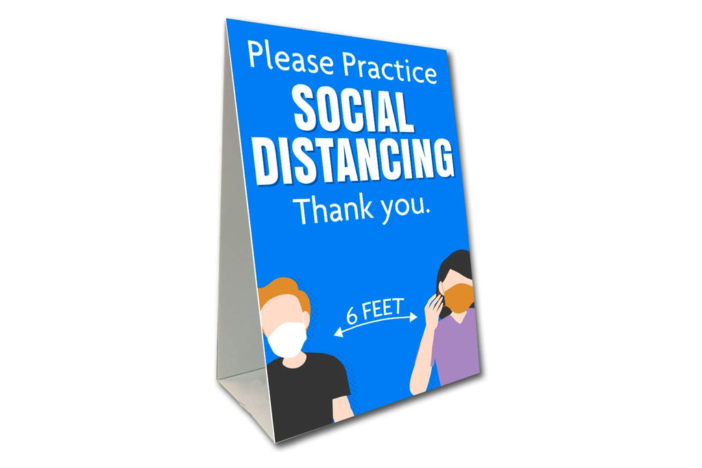 pyramid sign, sign, social distance
