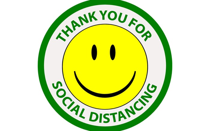 smiling sign, social distancing