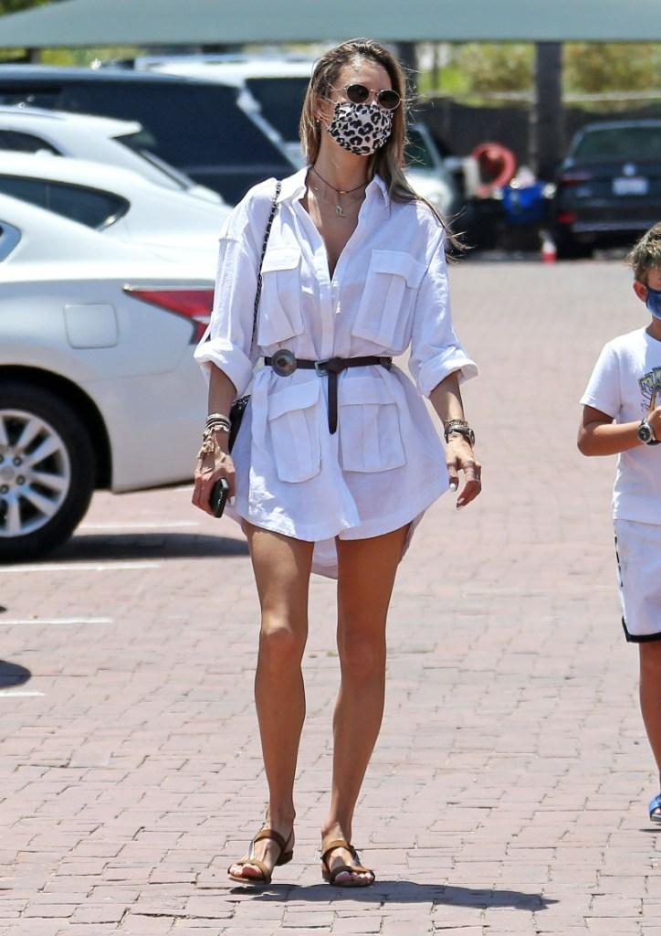 alessandra ambrosio, style, shirt, dress, belt, mask, sandals, cheetah, model
