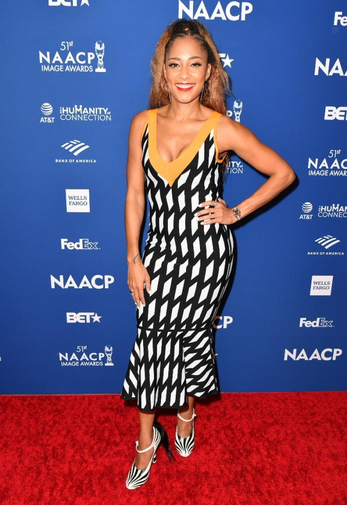amanda seales, bet, naacp, dress