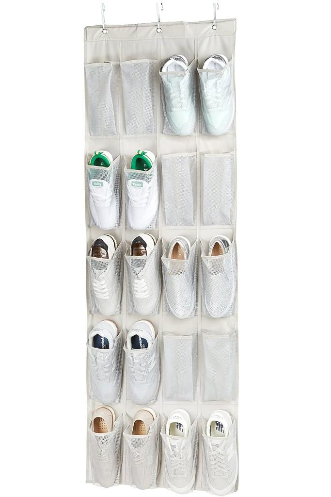 AmazonBasics 20-Pocket Over-the-Door Hanging Large-Size Shoe Organizer