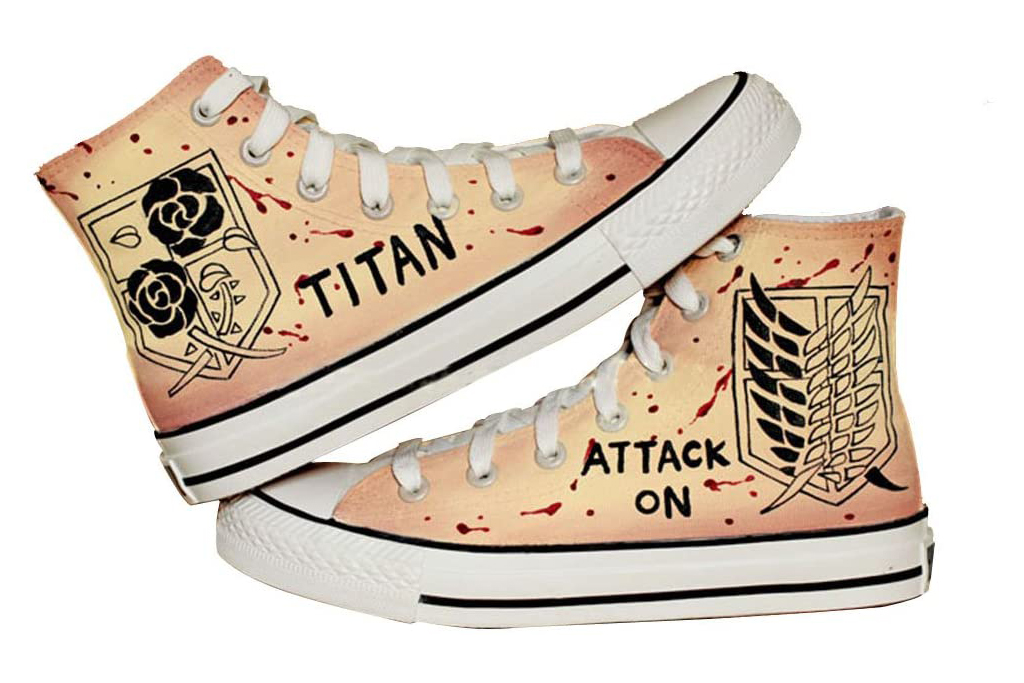 attack on titan, hand painted sneakers
