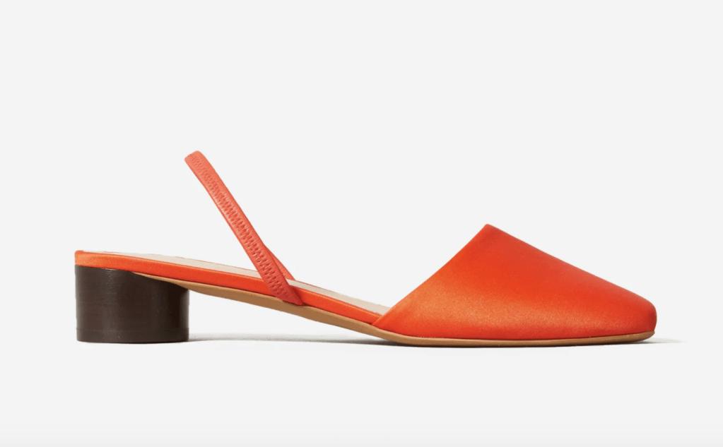 everlane slingback, best everlane shoe, orange satin shoe