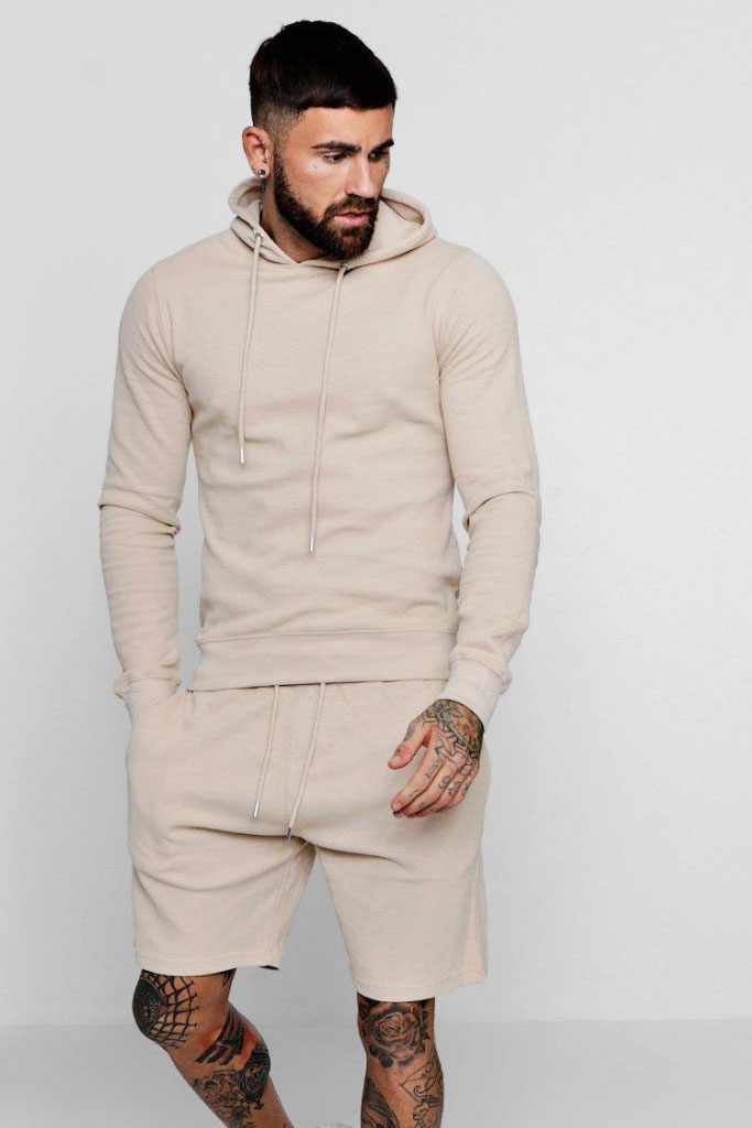 Boohoo, Tracksuit, Mens, PIQUE OVER THE HEAD HOODIE & SHorts