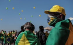 Supporters of the Brazilian President attend