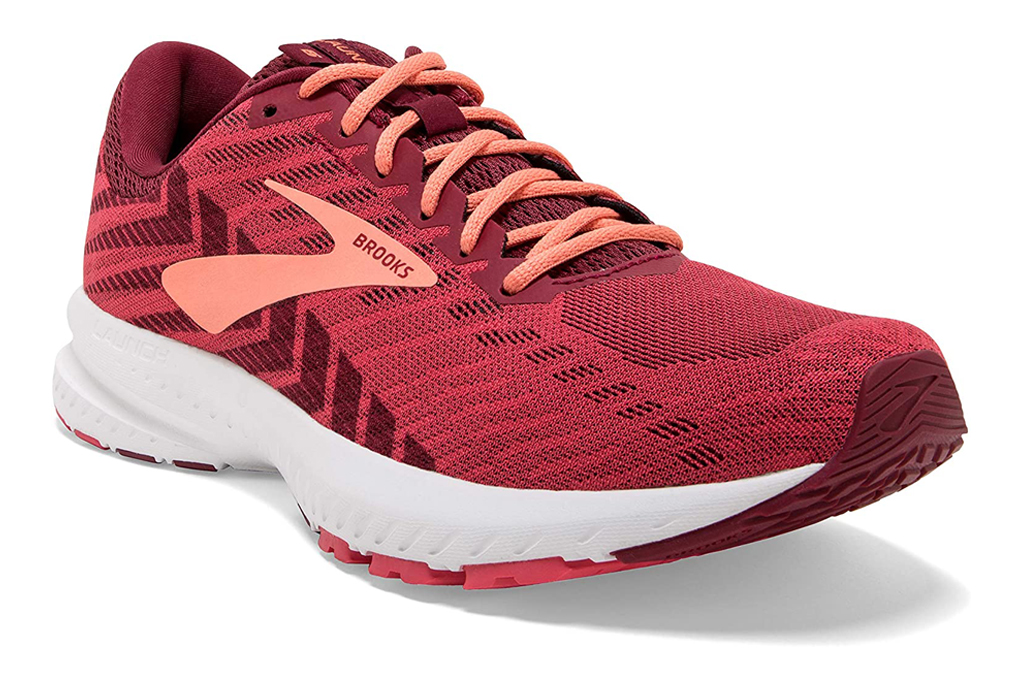 brooks, red, running shoes