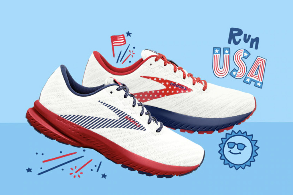 Brooks, patriotic sneakers, launch 7, run usa