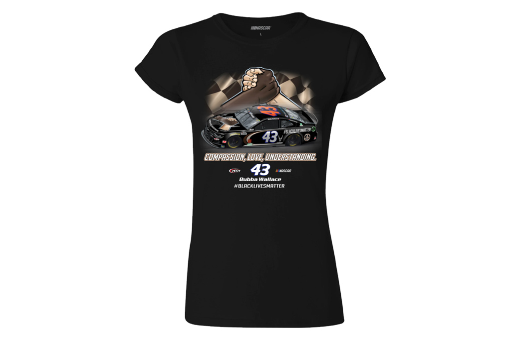 bubba wallace, apparel, nascar, merchandise, black lives matter, t-shirt, hat, slides