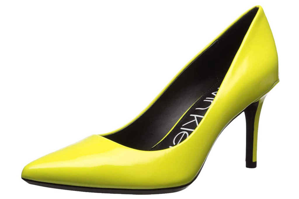 calvin klein, pumps, yellow