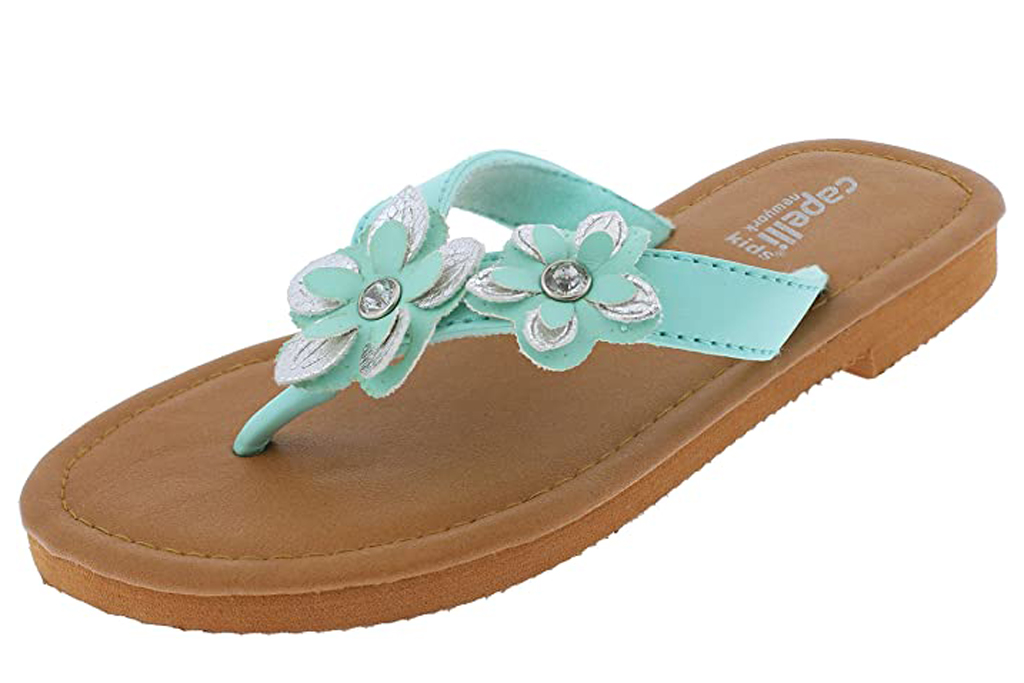 Capelli New York Girls Fashion Flip Flops with Gem Trim