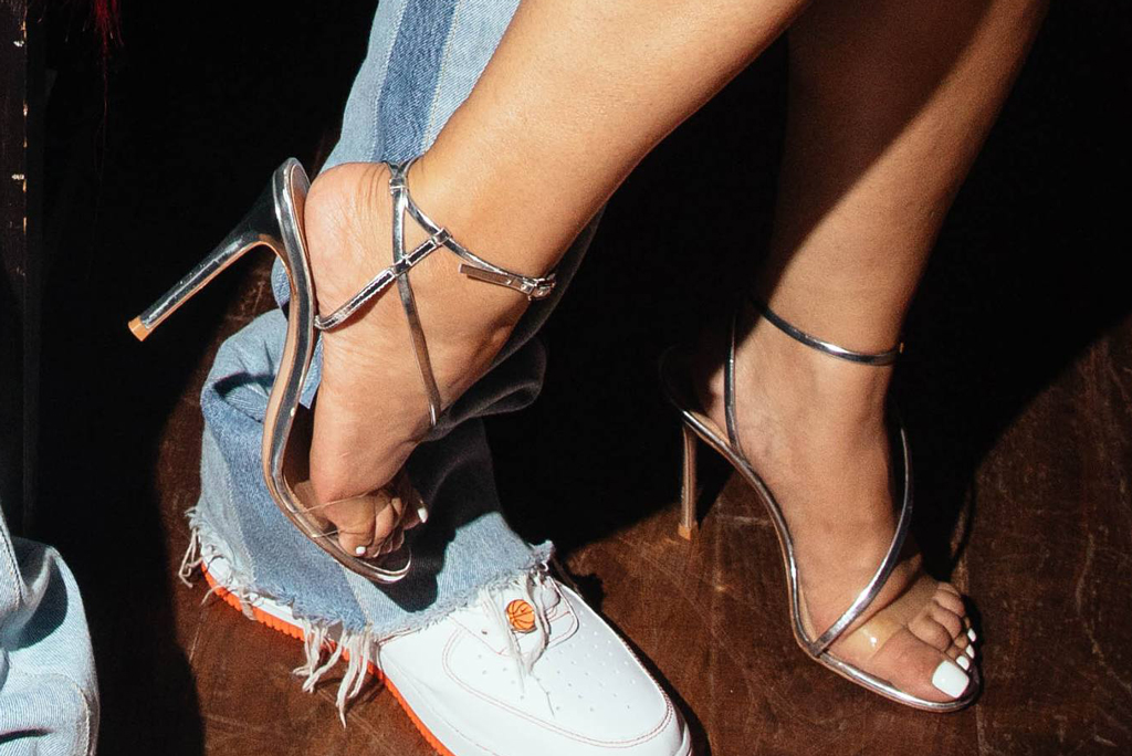 Cardi B, pedicure, toes, feet, shoe detail, silver sandals, stilettos,