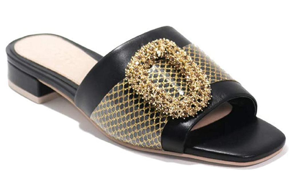 cecelia new york, sandals, gold black