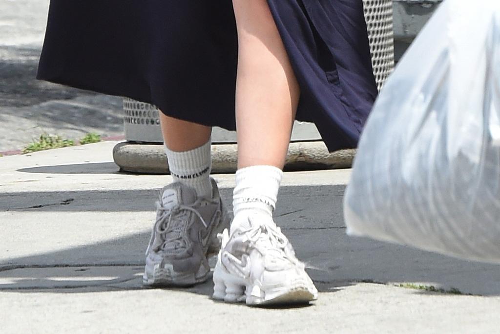 charli xcx, style, dress, sneakers, nike, chunky sneakers, mask