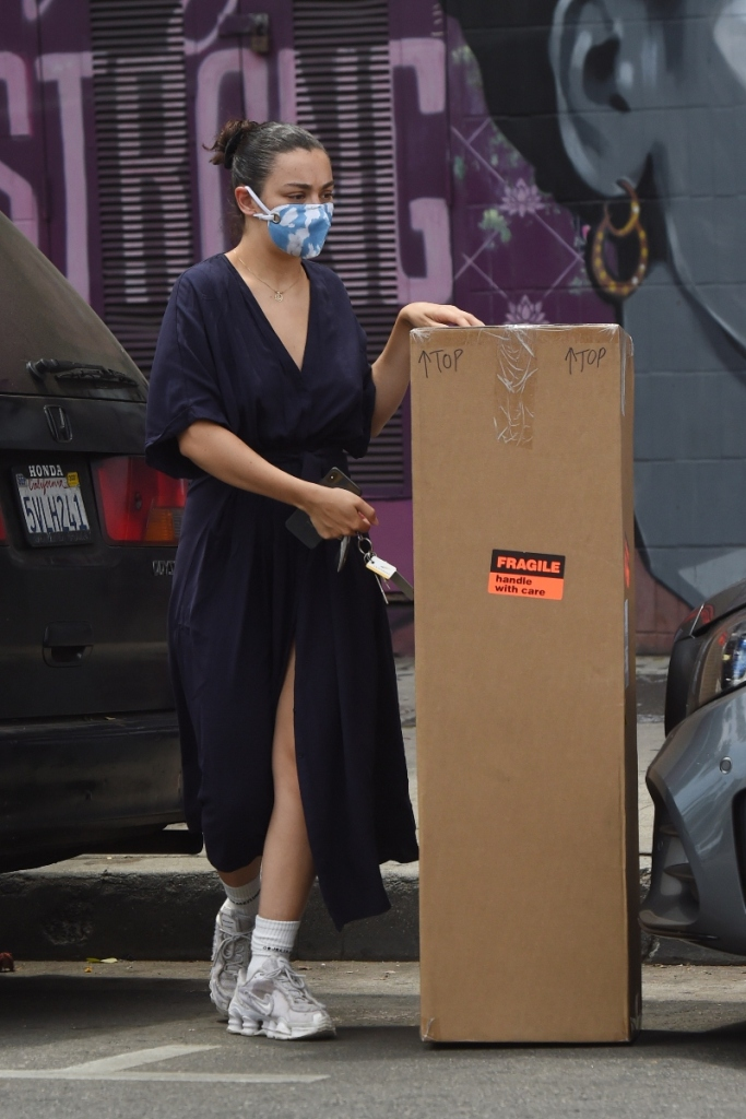 charli xcx, style, dress, sneakers, nike, chunky sneakers, mask