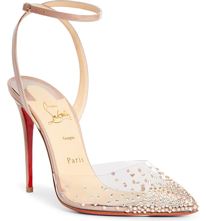 christian louboutin spikaqueen, crystal pumps, cinderella shoes