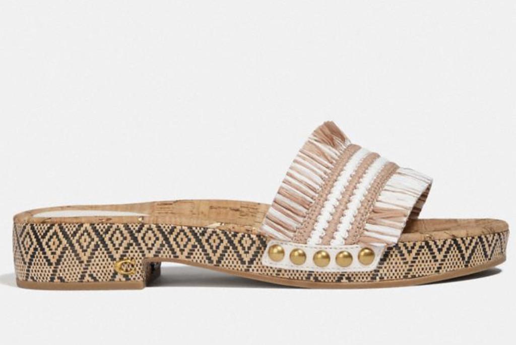 coach sale, brayden sandal, coach raffia slide