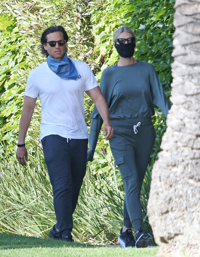 Brad Falchuk, Gwyneth Paltrow, walk, sweatpants, joggers, green, sneakers, hoka one one