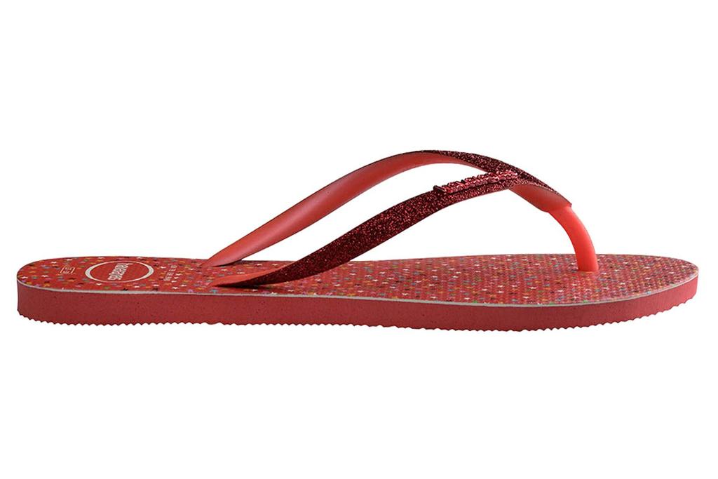 havaianas, flip flops, red