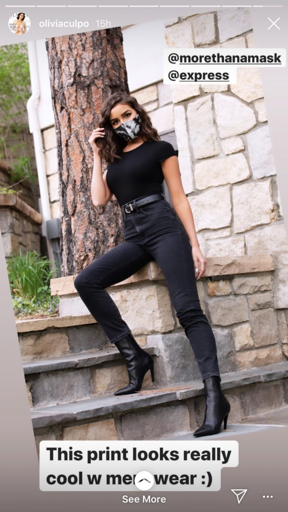 olivia culpo, style, heels, boots, mask, jeans, skinny jeans